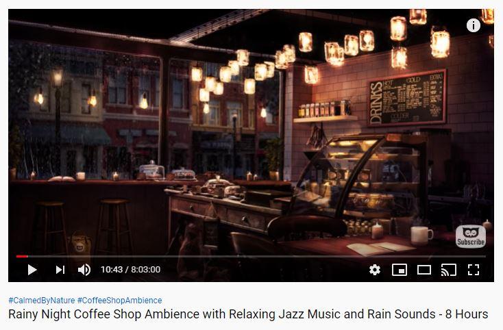Rainy Night Coffee Shop Ambience